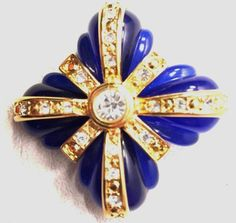Gorgeous  Joan Rivers Collection Cobalt Blue  Pin Brooch Rhinestones Signed  #JoanRivers