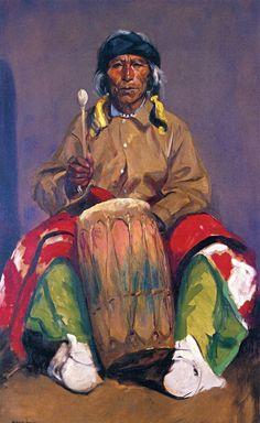 Robert Henri [American Ashcan School Painter, Deguito Roybal, San Ildefonso Pueblo 1916 oil on canvas Height: cm in.) New Mexico Museum of Art Thomas Carlyle, Native American Artists, Native American Indians, Native Americans, Museum Of Fine Arts, Art Museum, Fine Art Prints, Canvas Prints, Oil On Canvas