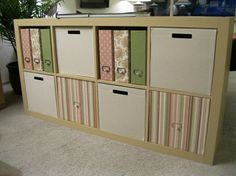 DIY Boxes for Expedit Shelves.  I am going to make these with boxes I have on hand and cover with Contact Paper since I have an unnatural fear of fabric and sewing (I blame my mother's obsession of those things for my fear!)