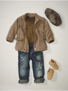 cute little boy outfit..striped t, jacket, distressed jeans,  hat