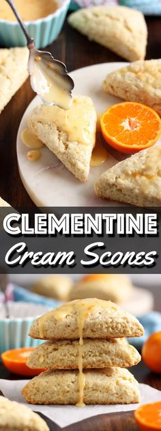 These Clementine Cream Scones are infused with refreshing clementine flavor in the scone batter, and in the tangy sweet glaze with lots of clementine zest. | wildwildwhisk.com