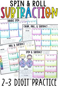These 2 digit subtraction and 3 digit subtraction worksheets and printable are perfect for first grade, 2nd grade, and 3rd grade students. Use these activities while teaching subtraction with borrowing or no borrowing. Students will practice subtracting tens and hundreds within 100 or 1000. These dice activities and spin activities are horizontal subtraction problems.