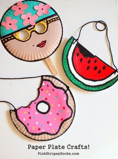 Vintage Swimmer, Watermelon, and Doughnut Paper Plate Crafts