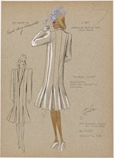 """Morning glory"""" From New York Public Library Digital Collections. Fashion Sketchbook, Fashion Sketches, Model Pictures, Print Pictures, 1930s Fashion, Vintage Fashion, Fashion Project, Vintage Models, New York Public Library"""