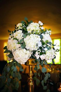 Mirror Box Centerpieces Tall Wedding Gold Vases Cascading White Hydrangeas Greenery Flowers St