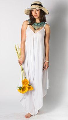 a8b0d0e106ff5 Wide Leg Womens Gypsy Long Jumpsuit Dress in White