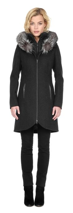 CHARLENE-F6X Slim fit wool coat with fur trim in Black