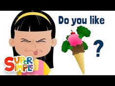 """Do You Like Broccoli Ice Cream? is an original (and very silly) food song from Super Simple Learning created for teaching how to express food likes and dislikes, and asking and answering """"Do you like _____? Kindergarten Songs, Preschool Music, Preschool Activities, Silly Songs, Fun Songs, Kids Songs, Preschool Spanish, Learning Spanish, Elementary Spanish"""