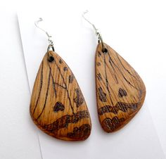 LTD Edition Butterfly Wing Earrings Pyrography Wood Wearable Art