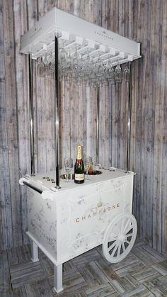 Champagne Buckets, Champagne Bottles, Champagne Flutes, Veuve Cliquot, Drink Cart, Beverage Cart, Flute Glasses, Bubble Wall, Candy Cart