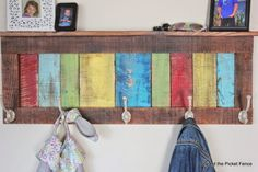 Reclaimed Pallet Wood Coat Hook and Shelf Build a rustic coat rack from bright painted pallet wood scraps. The post Reclaimed Pallet Wood Coat Hook and Shelf appeared first on Pallet Diy. Recycled Pallets, Wooden Pallets, Pallet Wood, Scrap Wood Projects, Diy Pallet Projects, Pallet Ideas, Custom Woodworking, Woodworking Projects, Woodworking Plans