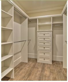 Master Bedroom Closet idea. Love shelves for shoes, purses, & sweaters.