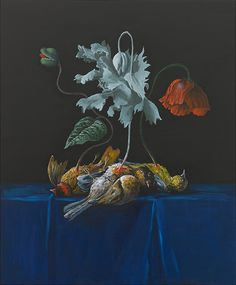 Ozbolt Dead birds and flowers and ...., 2011 Oil on icon board 60 x 50 x 6 cm / 23 5/8 x 19 5/8 x 2 3/8 in