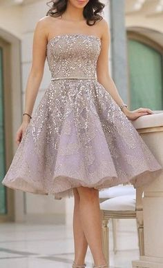 Short Strapless Homecoming Dress,Ball Gown Homecoming Dress,Knee Length Charming Prom Dress