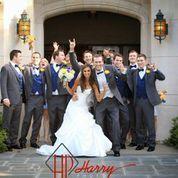 Wedding party celebrating.