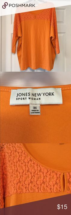 Jones New York top Pretty orange top with lace overlay around neck and down 3/4 sleeves. Great condition. Jones New York Tops Tees - Long Sleeve