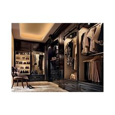 Walk-in Closet ❤ liked on Polyvore featuring house, closet, rooms, home and interior