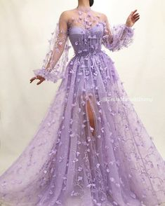 Details - Lavender dress color - Tulle dress fabric - Embroidered purple flowers - A-line gown with waist definition and long sleeves - For parties and special occasions # Quinceanera purple Rozarian Bloom Gown Floral Prom Dresses, Cute Prom Dresses, Prom Outfits, Prom Dresses Long With Sleeves, Elegant Dresses, Pretty Dresses, Sexy Dresses, Wedding Dresses, Formal Dresses