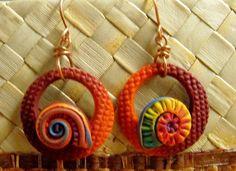 Spiral Series - Alizarin Earrings by MargitB., via Flickr
