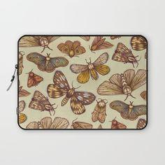 """Moth Pattern"" Laptop Sleeve by Kate O'Hara Illustration on Society6."