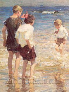 Edward Henry Potthast (1857-1927) - Children at Shore No. 3