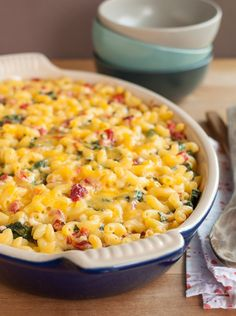 Lighter Baked Macaroni & Cheese with Spinach and Red Peppers