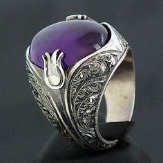Amethyst Ring 925 Sterling Silver unique mens jewelry artisan handcraft size 9