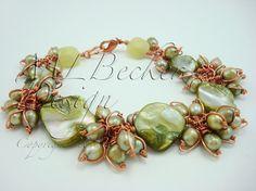 Copper Bracelet with Freshwater Olivine Green by MLBeckerDesign, $132.00