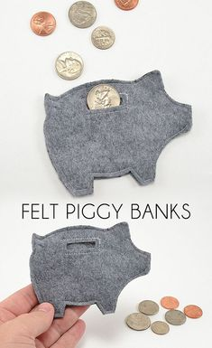 Felt piggy bank tips. Leuk om geld in cadeau te doen. Fabric Crafts, Sewing Crafts, Craft Projects, Crafts For Kids, Felt Projects, Project Ideas, Cool Crafts, Easy Felt Crafts, Children Projects