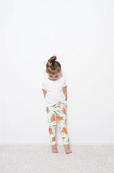 Minty Hue Floral Organic Knit Toddler Leggings // Newborn-6t