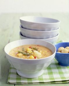 Vegetable Chowder - Martha Stewart Recipes, put chicken broth and potatoes in crock pot instead and add celery and carrots