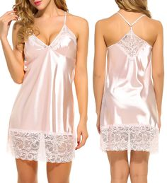 Avidlove Women Halter Lace Lingerie Sexy Satin Pajama Nightgown Silk Sleepwear *** You can get additional details at the image link. Silk Sleepwear, Lingerie Sleepwear, Nightwear, Satin Lingerie, Women Lingerie, Sexy Lingerie, Ropa Interior Boxers, Silk Chemise, Gorgeous Lingerie