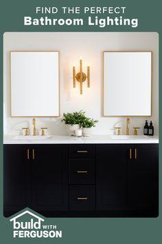 Guest Bathrooms, Upstairs Bathrooms, Bathroom Renos, Small Bathroom, Master Bathroom, Master Bath Remodel, Bathroom Design Luxury, Beautiful Bathrooms, Bathroom Lighting