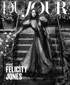British actress Felicity Jones wears a black flocked tulle gown from Vivienne Westwood with Wolford pantyhose, Graff ring and Russell & Bromley boots on . Felicity Jones, Best Fashion Magazines, Mark Seliger, Buy Flowers Online, Tulle Gown, Body Treatments, British Actresses, Tiffany And Co, Newlyweds