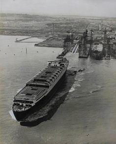 Cunard Line MAURETANIA (2) launch, 1938 via Todd Neitring