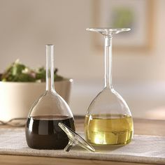 At first glance, these look like upturned glasses but they're really oil and vinegar bottles