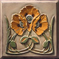 Hand painted Poppy tile from Oka Park Hardware