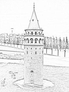 Galata Kulesi Karakalem Çizim