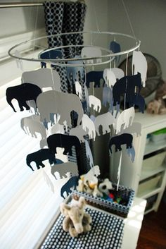 "How fun...I love the black and white!  (maybe you could have one of the elephants be a ""color""!"