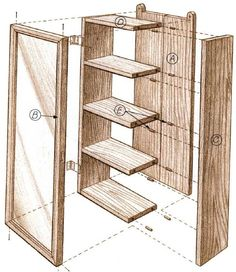 Woodworking plan for tea cabinet.