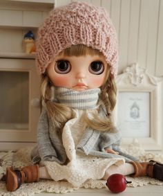 ***カスタムブライス**Custom Blythe**三つ編みピンク帽子***_画像1