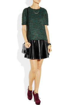 Milly|Delphine flared leather skirt, KENZO top, Isabel Marant necklaces,bracelets,YSL shoes