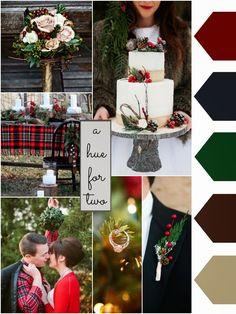 Christmas Wedding - Red, Blue, Green, Brown - Rustic Christmas Wedding - Wedding Blog - A Hue For Two   www.ahuefortwo.com: