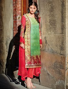 Orange & Green Cotton Design Salwar Kameez & Shawl $48.00 For Order whtsap at 9582233490 #orange #green #cotton #design #salwarkameez #indianstyle #womenswear #fashionumang