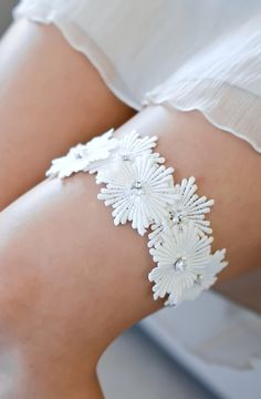 CLAUDIA wedding garter, art deco bridal garter, lace wedding garter via Etsy