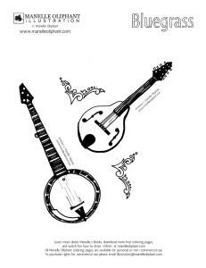 Free Coloring Page Friday Bluegrass Manelle Oliphant Illustration Coloring Pages Bluegrass Free Coloring Pages