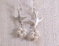 Birds Nest Earrings with White Freshwater Pearls