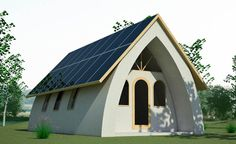 Earth bag vault style home with solar panel roof. Maison Earthship, Earthship Home, Small House Plans, House Floor Plans, Earth Bag Homes, Tadelakt, Natural Building, Green Building, Solar House