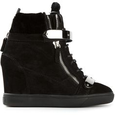 Giuseppe Zanotti Design concealed wedge hi-top sneakers ($760) ❤ liked on Polyvore featuring shoes, sneakers, heels, giuseppe zanotti, wedges, black, black leather high tops, wedges shoes, studded lace-up wedge sneakers and black high-top sneakers