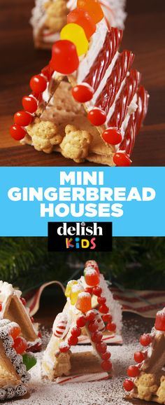 Mini gingerbread houses made with graham crackers